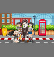 group of teenagers in street scene vector image vector image