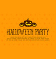 halloween party card with pumpkin vector image vector image