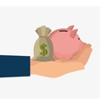 hand holding a piggy moneybox vector image vector image