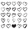 hand painted heart symbols vector image