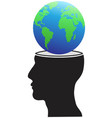 human head with globe vector image