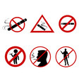 icon set do not smoke vector image vector image