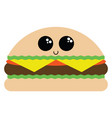 image cute burger to eat or color vector image
