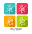line art baby stroller mobile icon set in four vector image