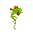 little funny frog wearing baseball cap and gloves