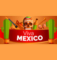 mexican music concept background cartoon style vector image
