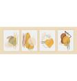 minimal and gold abstract wall arts collection vector image