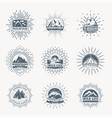 mountain emblems mountains set monochrome vector image