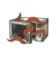 octopus in microwave oven color sketch engraving vector image vector image