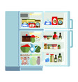 outdoor white refrigerator with products modern vector image vector image