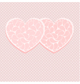 Pink valentine card template with two hearts vector image vector image