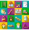 Preschool icons set flat style vector image vector image