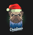 pug head with christmas hat gr vector image vector image
