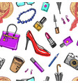 Seamless pattern women s accessories cosmetics