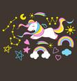 set beautiful unicorn elements on dark vector image vector image