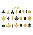 set silhouettes autumn leaves autumn leaf vector image vector image