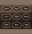 set vintage style frame labels and elements vector image