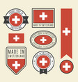 stickers tags and labels with switzerland flag vector image vector image