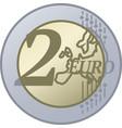 two european union euro coin vector image vector image