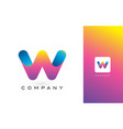 w logo letter with rainbow vibrant beautiful vector image vector image