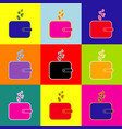 wallet sign with currency symbols pop-art vector image vector image