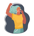 woman with phone looking crying vector image vector image