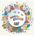 Colorful happy easter greeting card in vector image