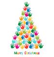 Hand print Christmas tree vector image