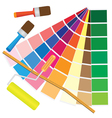 brushes and papers with coloured samples vector image