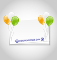 Greeting Card with Balloons in National Colors of vector image