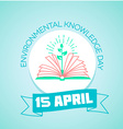 15 April Day of environmental knowledge vector image vector image