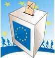 a ballot box with people walk vector image vector image