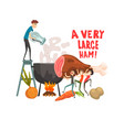 a very large ham little men cooking huge piece of vector image