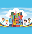 abstract city and children vector image