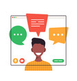 african student chatting during video call young vector image vector image