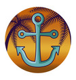 anchor marine with tropical palm in frame vector image vector image