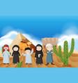 arab people in desert vector image