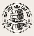 badge with a barrel beer vector image vector image