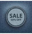 blue denim round sale poster vector image vector image