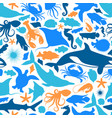 blue marine fish animal icon seamless pattern vector image