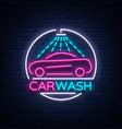 car wash logo design emblem in neon style vector image vector image