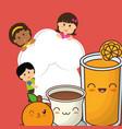 chef children fresh juice chocolate orange fruit vector image vector image