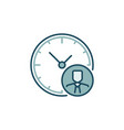 clock and businessman colored icon - work time vector image