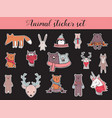 colorful christmas and winter animal sticker set vector image vector image