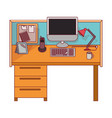 colorful graphic of workplace office interior with vector image vector image