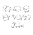 cute cartoon sheep set farm animals funny lambs vector image vector image