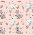 cute kitten seamless pattern vector image
