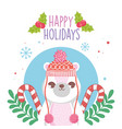 cute polar bear with hat and sweater candy canes vector image vector image
