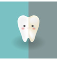 cute tooth which half of it is white happy and vector image vector image