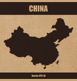 detailed map of china on craft paper vector image vector image